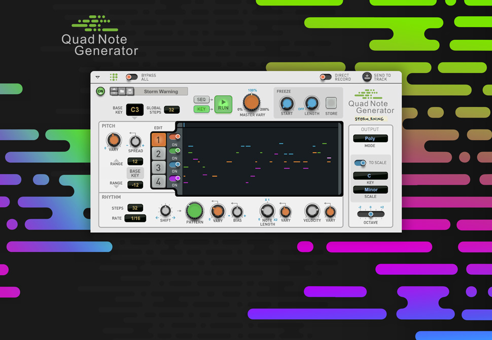 Unexpected, unpredictable, unanticipated, unforeseen. Quad Note Generator creates an endless stream of musical ideas.