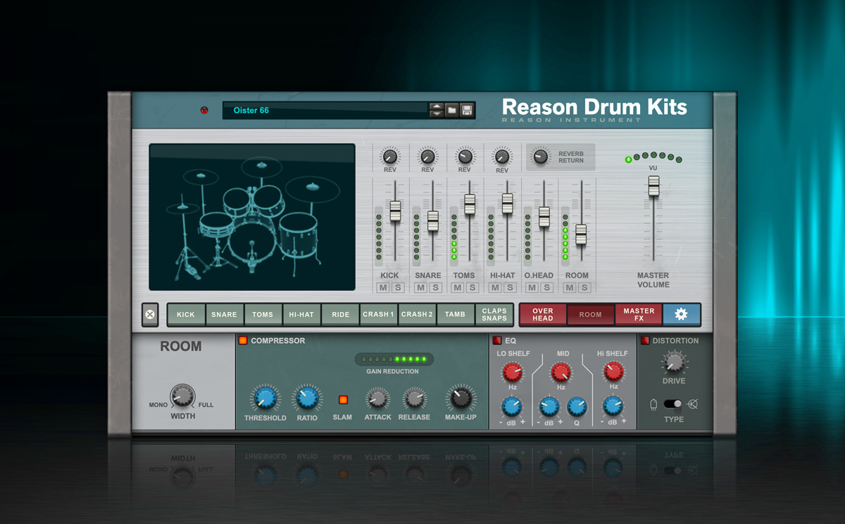 Add lively, realistic acoustic drums to your music with Reason Drum Kits Rack Extension.