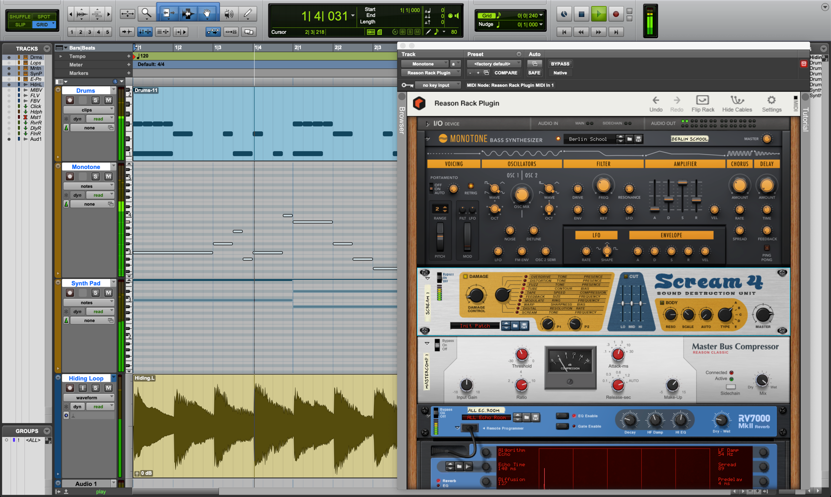 image of daw + Reason Rack Plugin
