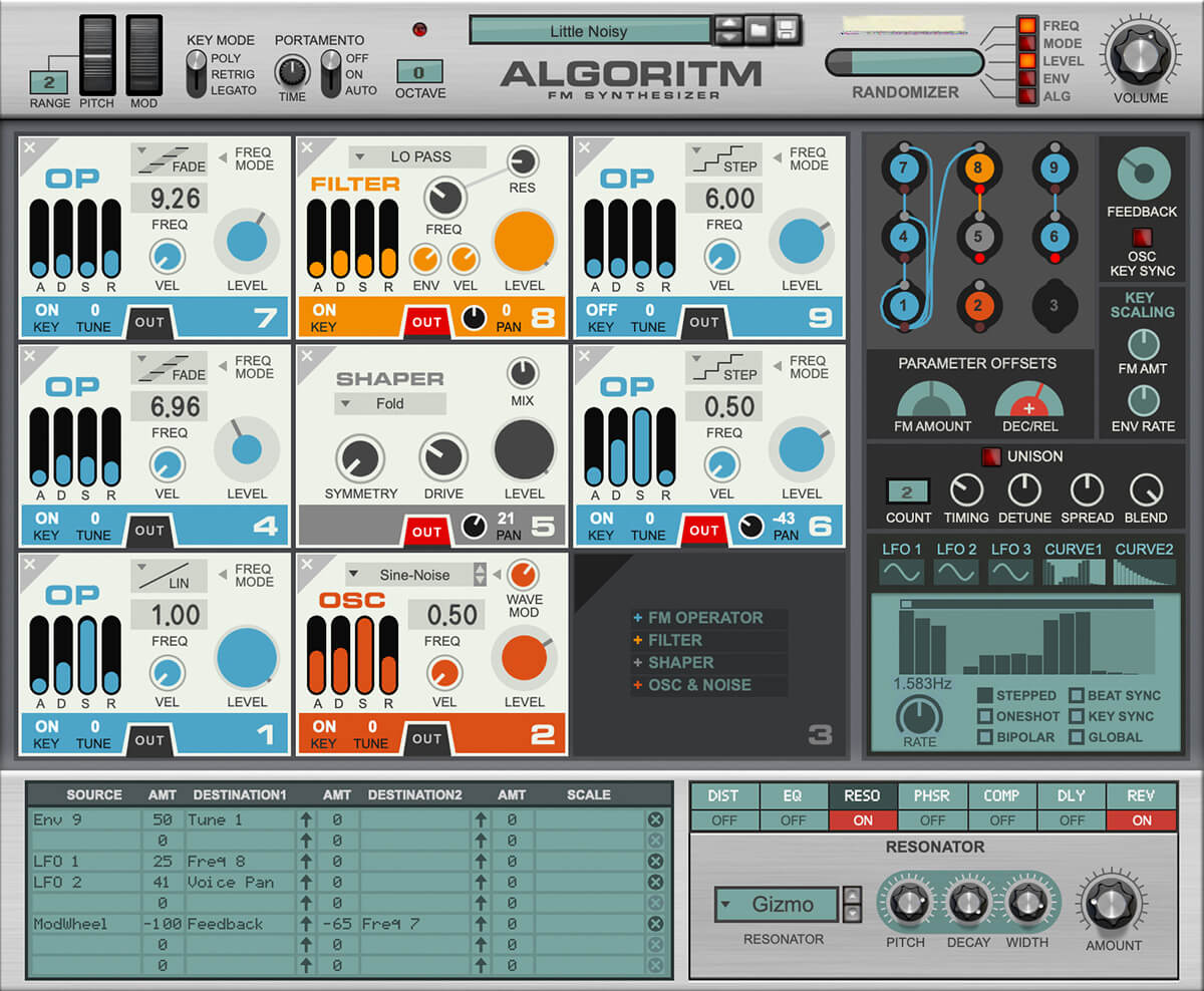Algoritm FM synthesizer Rack Externsion product screenshot